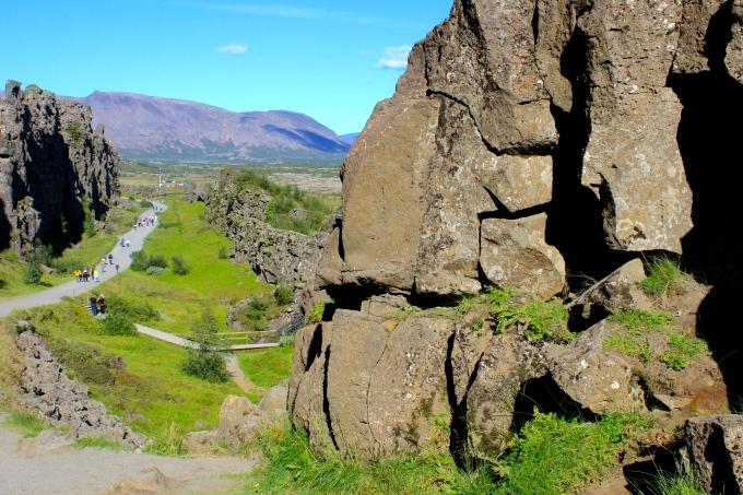 Walking along the lava walls