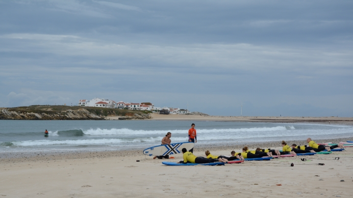 Practicing our pop-ups,  c/o Baleal Surf Camp
