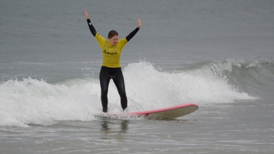 Perfect form!  Just kidding, but hey I'm up!   c/o Baleal Surf Camp