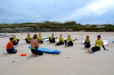 Steve and Addie teaching us newbies,  c/o Baleal Surf Camp