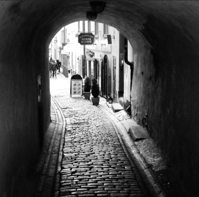 Peering down the streets of the old city
