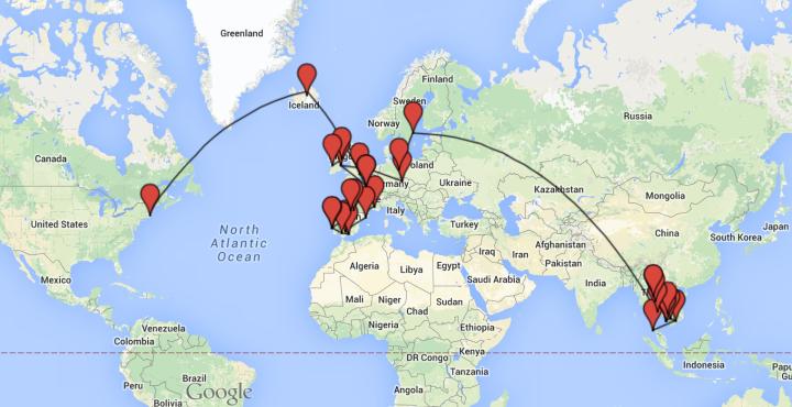 Overall route so far